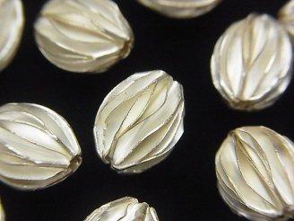 天然石卸 カレンシルバー シード(種)モチーフビーズ13×10×10mm ホワイトシルバー 2粒780円!