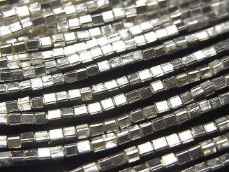 天然石卸 カレンシルバー キューブ2×2×2mm ホワイトシルバー 1/4連〜1連(約68cm)