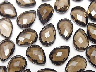 天然石卸 宝石質スモーキークォーツAAA 穴なしペアシェイプクッションカット14×10mm 5粒1,280円!