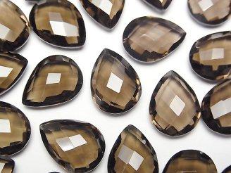 天然石卸 宝石質スモーキークォーツAAA 穴なしペアシェイプクッションカット16×12mm 5粒1,880円!