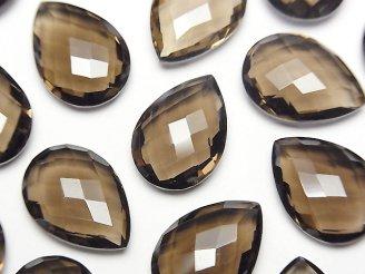 天然石卸 宝石質スモーキークォーツAAA 穴なしペアシェイプクッションカット18×13mm 3粒1,380円!