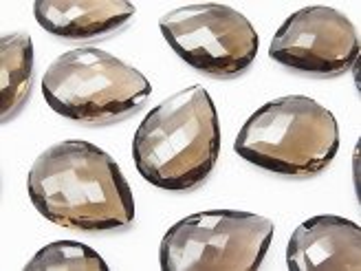 天然石卸 宝石質スモーキークォーツAAA 穴なしペアシェイプクッションカット20×15mm 3粒1,880円!