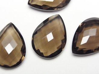 天然石卸 宝石質スモーキークォーツAAA 穴なしペアシェイプクッションカット22×16mm 2粒1,480円!