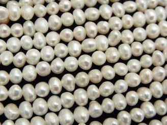 天然石卸 1連580円!淡水真珠AA ホワイト ポテト4〜4.5mm 1連(約34cm)