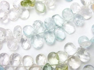 天然石卸 宝石質ベリルミックス(アクアマリン&モルガナイト)AA++ ペアシェイプ ブリオレットカット 半連/1連(約19cm)