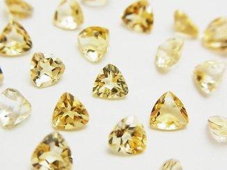 天然石卸 1点もの!宝石質シトリンAAA 穴なしトライアングルファセットカット5×5mm 67粒セット NO.31