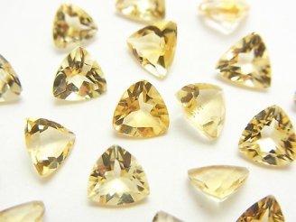 天然石卸 1点もの!宝石質シトリンAAA 穴なしトライアングルファセットカット6×6mm 18粒セット NO.32