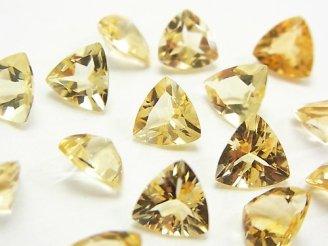 天然石卸 1点もの!宝石質シトリンAAA 穴なしトライアングルファセットカット8×8mm 15粒セット NO.35