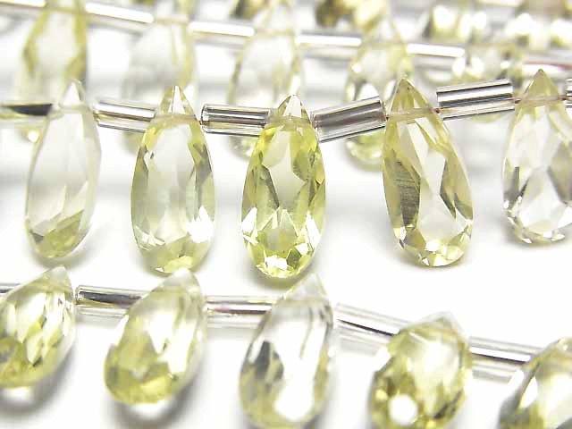 宝石質レモンクォーツAAA ペアシェイプ ファセットカット12×5×3mm 1連(18粒)