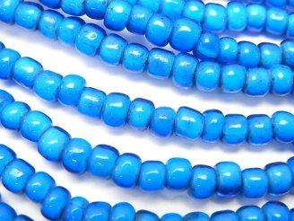 天然石卸 1連680円!ホワイトハーツビーズ5×5×4mm 【ブルー】 1連(約62cm)