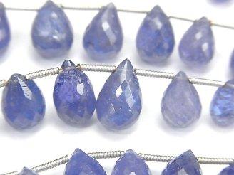 天然石卸 宝石質タンザナイトAAA- ドロップ ブリオレットカット 半連/1連(約18cm)