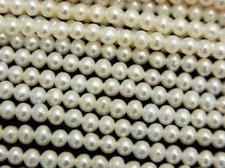 天然石卸 1連2,480円!淡水真珠AAA セミラウンド3.5mm ホワイト 1連(約37cm)