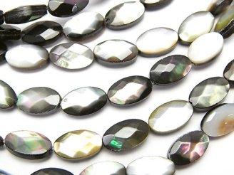 天然石卸 ブラックシェル(黒蝶貝)AAA オーバルカット10×6×4mm 半連/1連(約38cm)