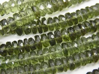 天然石卸 宝石質モルダバイト ボタンカット5×5×2mm 1/4連〜1連(約38cm)