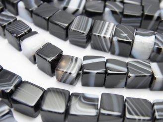 天然石卸 ストライプオニキス キューブ6×6×6mm 半連/1連(約36cm)