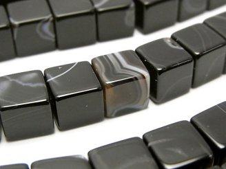 天然石卸 ストライプオニキス キューブ10×10×10mm 半連/1連(約36cm)