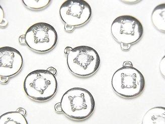 天然石卸 2個580円!Silver925 コイン9×8×2.5mm チャーム(CZ付) 【ロジウム】 2個