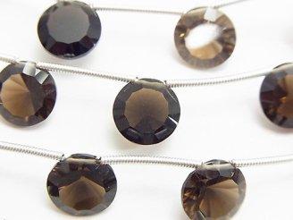 天然石卸 1連1,480円!宝石質スモーキークォーツAAA コイン コンケーブカット 1連(8粒)