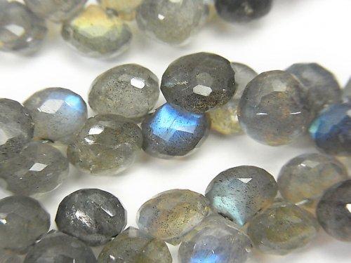 宝石質ラブラドライトAAA- オニオン ブリオレットカット 半連/1連(約17cm)