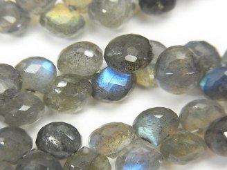 天然石卸 宝石質ラブラドライトAAA- オニオン ブリオレットカット 半連/1連(約17cm)