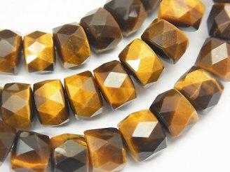 天然石卸 1連1,980円!素晴らしい輝き!イエロータイガーアイAAA- ボタンカット9×6×8mm 1連(ブレス)