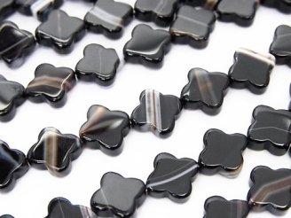 天然石卸 ストライプオニキスAAA フラワーモチーフ8×8×3mm 半連/1連(約36cm)