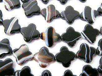 天然石卸 ストライプオニキスAAA フラワーモチーフ10×10×3mm 半連/1連(約37cm)