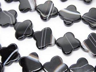 天然石卸 ストライプオニキスAAA フラワーモチーフ12×12×3mm 半連/1連(約37cm)