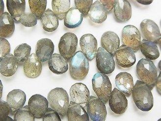 天然石卸 宝石質ラブラドライトAAA- ペアシェイプ ブリオレットカット 半連/1連(約16cm)