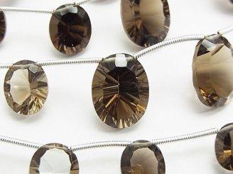 天然石卸 1連1,980円〜!宝石質スモーキークォーツAAA オーバル コンケーブカット 1連(8粒)