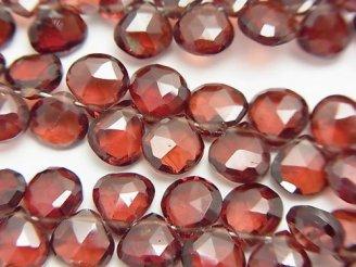 天然石卸 宝石質モザンビークガーネットAAA マロン ブリオレットカット 半連/1連(約18cm)