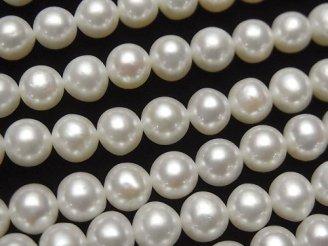天然石卸 1連2,480円!淡水真珠AA++ ラウンド〜セミラウンド6〜7mm ホワイト 1連(約38cm)