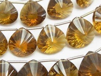 天然石卸 宝石質ビアクォーツAAA- マロン コンケーブカット 1連(約20cm)