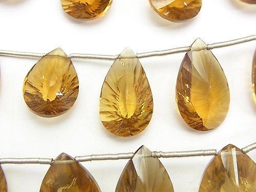 宝石質ビアクォーツAAA- ペアシェイプ コンケーブカット 1連(約13cm)