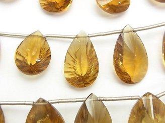 天然石卸 宝石質ビアクォーツAAA- ペアシェイプ コンケーブカット 1連(約13cm)