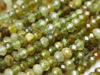 天然石卸 素晴らしい輝き!グリーンガーネットAA+ ボタンカット4×4×3mm 半連/1連(約38cm)