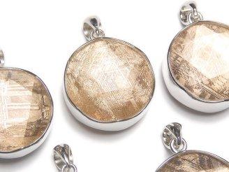 天然石卸 メテオライト(ギベオン隕石) ペンダントトップ 両面仕上げ19mm ピンクゴールドカラー SILVER925製