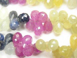 天然石卸 宝石質マルチカラーサファイアAA++ ドロップ ブリオレットカット 半連/1連(約19cm)