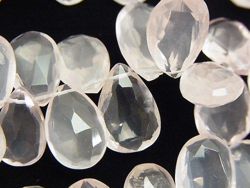 宝石質ローズクォーツAAA- 大粒ペアシェイプ ブリオレットカット 半連/1連(約18cm)