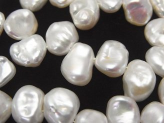天然石卸 1連2,480円!淡水真珠 ケシパールAAA- バロック10〜12mm クレオ ホワイト 1連(約38cm)