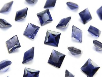 天然石卸 宝石質アイオライトAAA 穴なしプリンセスカット6×6×4mm 5粒1,680円!