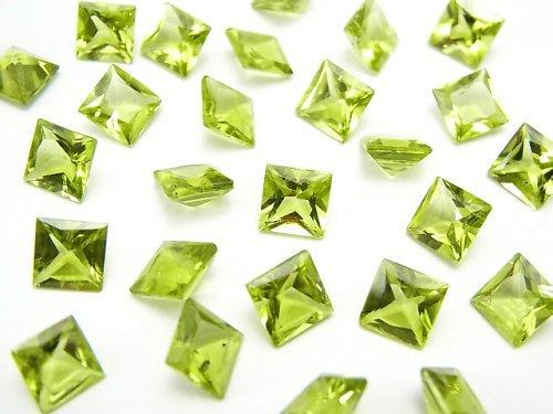 【動画】宝石質ペリドットAAA 穴なしプリンセスカット6×6×4mm 5粒