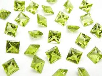 天然石卸 宝石質ペリドットAAA 穴なしプリンセスカット6×6×4mm 5粒1,480円!
