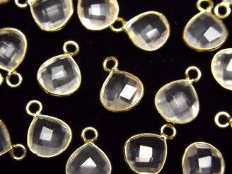天然石卸 宝石質ローズクォーツAAA 枠留めマロンカット9×9×4mm 18KGP 3個780円〜!