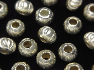天然石卸 カレンシルバー 模様入りロンデル7×7×5.5mm ホワイトシルバー 3個480円!