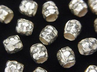 天然石卸 カレンシルバー ロンデル6×6×6mm ホワイトシルバー 5粒680円!