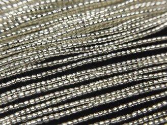天然石卸 カレンシルバー チューブ1.2×1.2×1.2mm ホワイトシルバー 半連/1連(約68cm)