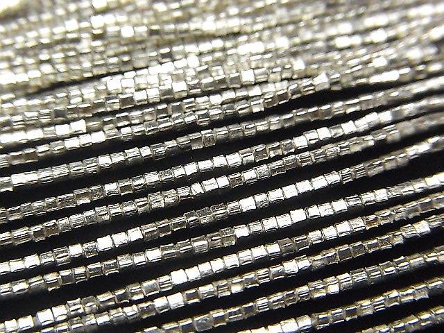 カレンシルバー キューブ1×1×1mm ホワイトシルバー 半連/1連(約68cm)