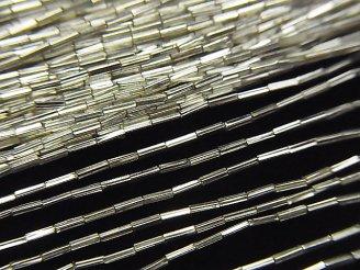天然石卸 カレンシルバー スクエアチューブ3×0.5×0.5mm  ホワイトシルバー 半連/1連(約66cm)