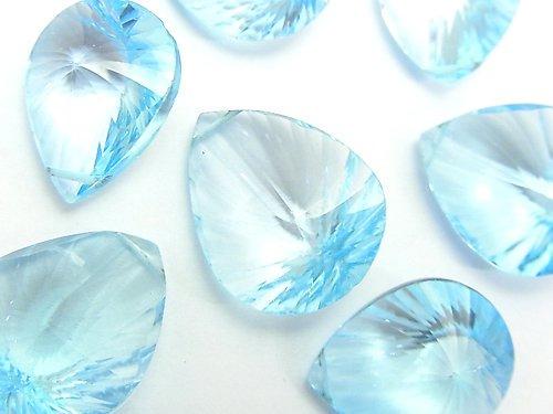 【粒売り】宝石質スカイブルートパーズAAA ペアシェイプ コンケーブカット 1粒
